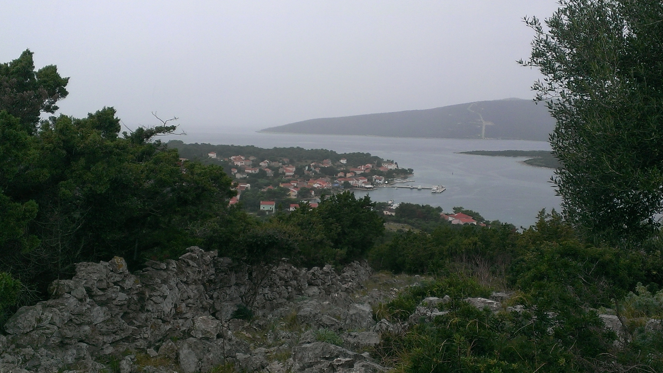 The town from the top of Stroža on a rainy day