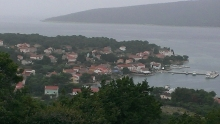The town from Stroža on a rainy day