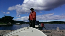 Fred Jelich holding the boat steady as we get ready to go